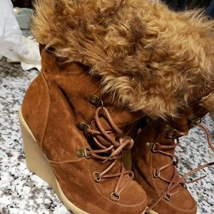 Furred top brown boots